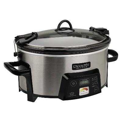 Crock-Pot Cook & Carry Digital Slow Cooker with Heat Saver Stoneware, Brushed Stainless Steel, SCCPCTS605-S