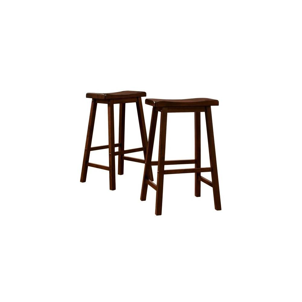 29 34 Set Of 2 Vinton Saddle Seat Counter Height Barstools Walnut Inspire Q