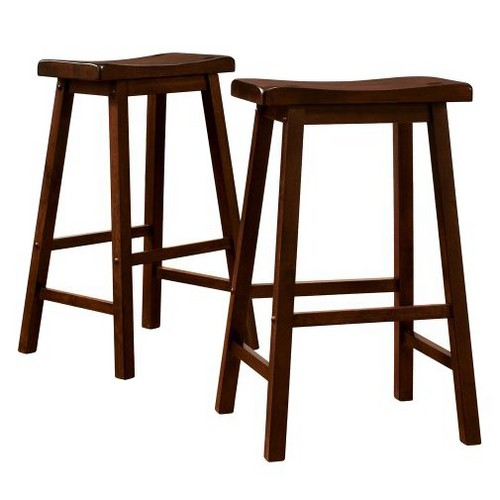 'Scoop 29'' Barstools - Walnut (Set of 2), Brown'