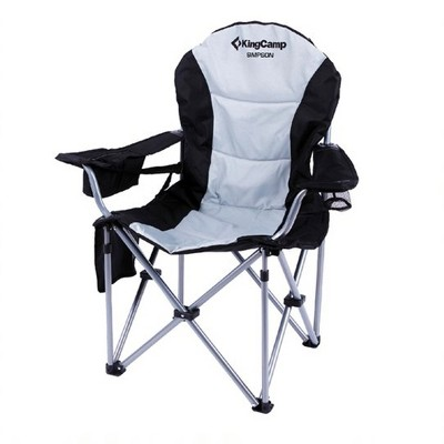 KingCamp Heavy Duty Steel Padded Camping Director Folding Chair with Zipper Cooler Bag Armrest, Cup Holder, and Side Pouch