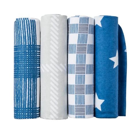 Flannel Baby Blankets Homespun Stars - Cloud Island™ Blue - image 1 of 2