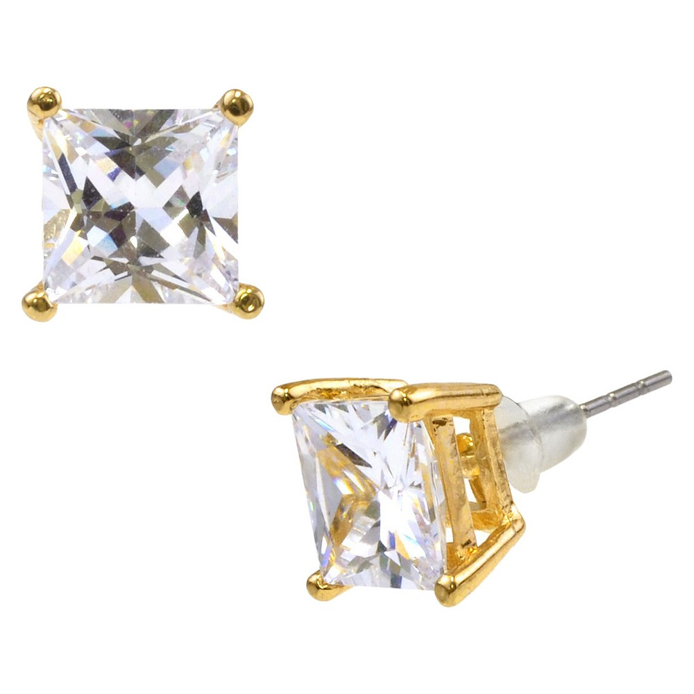 Square Crystal Stud - Gold