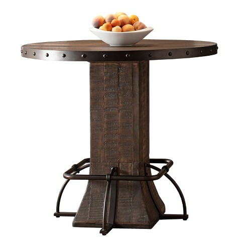Jennings Round Counter Height Dining Table Wood Metal Distressed