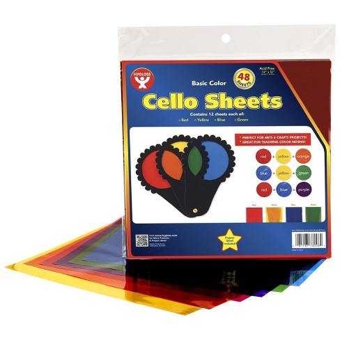 Hygloss Cello Sheets, 12 x 12 Inches, Assorted Colors, pk of 48 - image 1 of 1