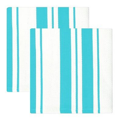"13""x13"" 2pk Cotton Stripe Kitchen Towel Aqua - MUkitchen"