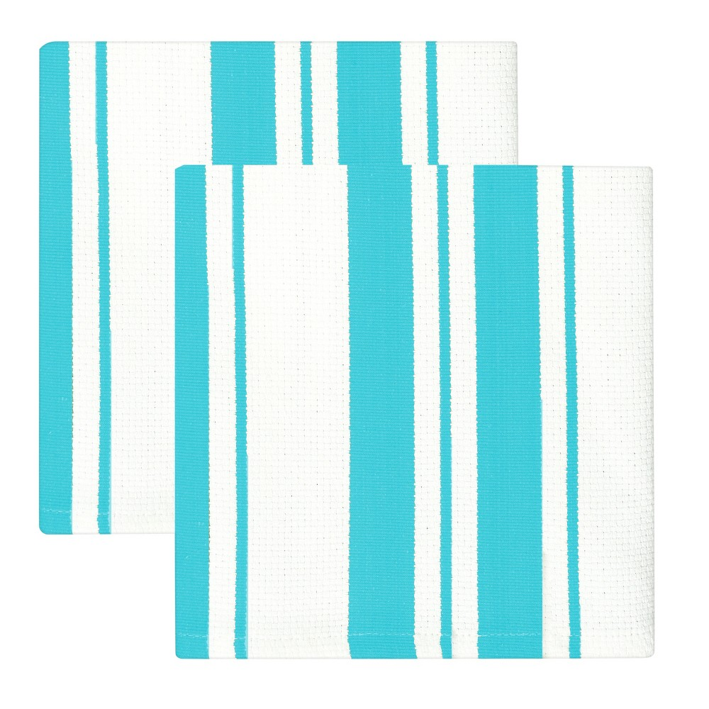"Image of ""13""""x13"""" 2pk Cotton Stripe Kitchen Towel Aqua - MUkitchen"""