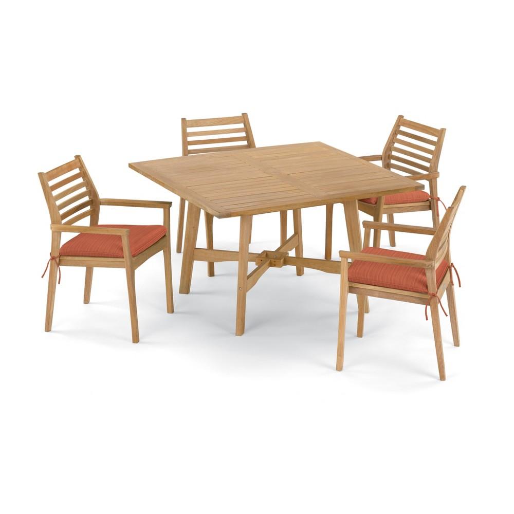 5pc Wexford 48 Dining Table & Mera Stacking Armchair Set Dupione Papaya (Orange) Cushions - Oxford Garden