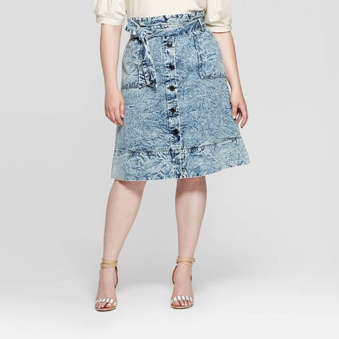 Women's Plus Size Mid-Rise Midi A Line Skirt - Who What Wear™ Blue - image 1 of 3
