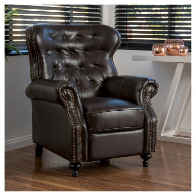 Walder Bonded Leather Recliner Club Chair   Brown   Christopher Knight Home  : Target