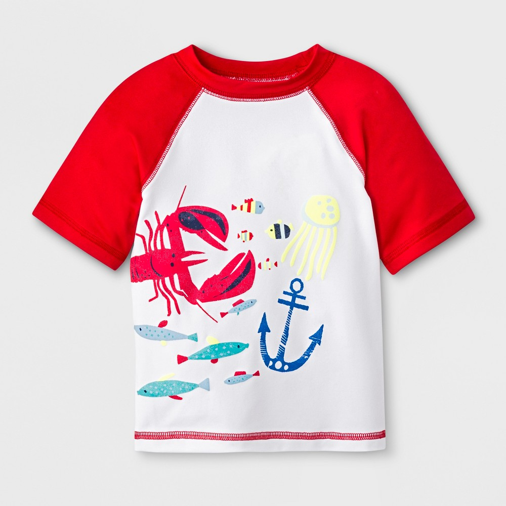 Baby Boys' Short Sleeve Lobster Rash Guard - Cat & Jack Red/White 12M