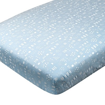 Honest Baby Organic Cotton Fitted Crib Sheet - Pattern Play Teal