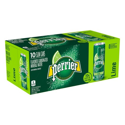 Perrier Lime Flavored Carbonated Mineral Water - 10pk/8.45 fl oz Slim Cans - image 1 of 6