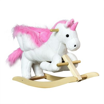 Qaba Kids Rocking Horse Wooden Plush Ride-On Unicorn Chair Toy with Lullby Song for 1-3 Years children