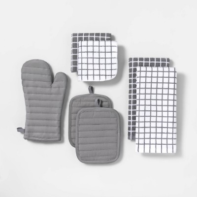 7pc Kitchen Textile Set Gray - Room Essentials™