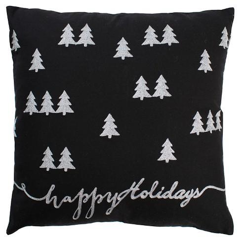 "Black/White Christmas Tree Throw Pillows (20""x20"") - Rizzy Home - image 1 of 1"