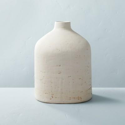 """12"""" Distressed Ceramic Vase Natural Cream - Hearth & Hand™ with Magnolia"""