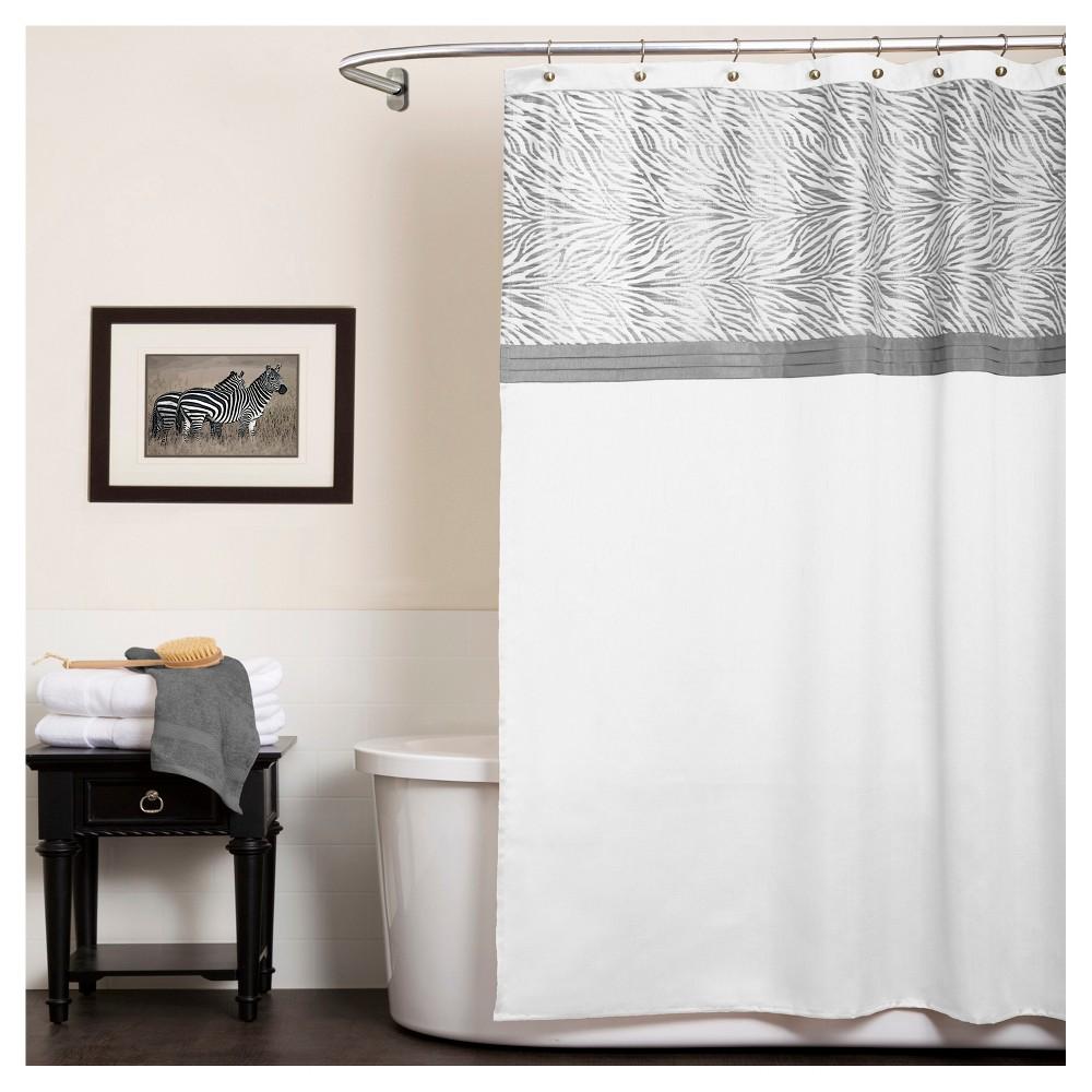 Serengeti Stripe Shower Curtain White - Lush Decor