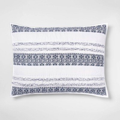 Standard Chenille Stripe Pillow Sham White - Opalhouse™