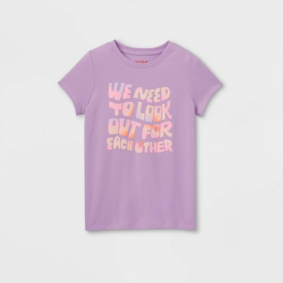 Girls' 'Look Out For Each Other' Graphic Short Sleeve T-Shirt - Cat & Jack™ Lilac
