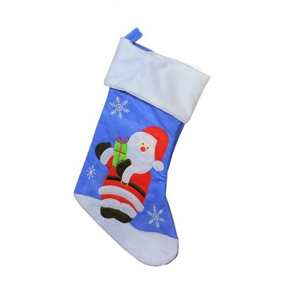 """Northlight 15"""" Blue and Red Santa Claus with Gift Christmas Stocking"""