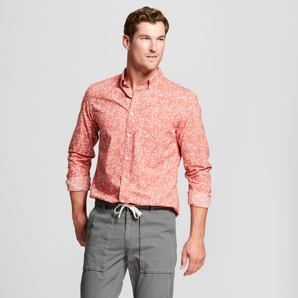 Men's Standard Fit Northrop Long Sleeve Button-Down Shirt - Goodfellow & Co Faded Rose XL