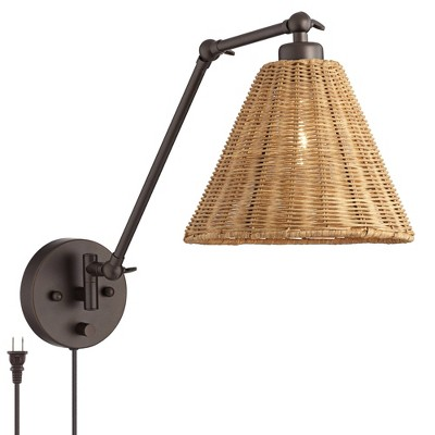 Barnes and Ivy Swing Arm Adjustable Wall Lamp with Cord Bronze Plug-In Light Fixture Natural Rattan Shade Bedroom Bedside House