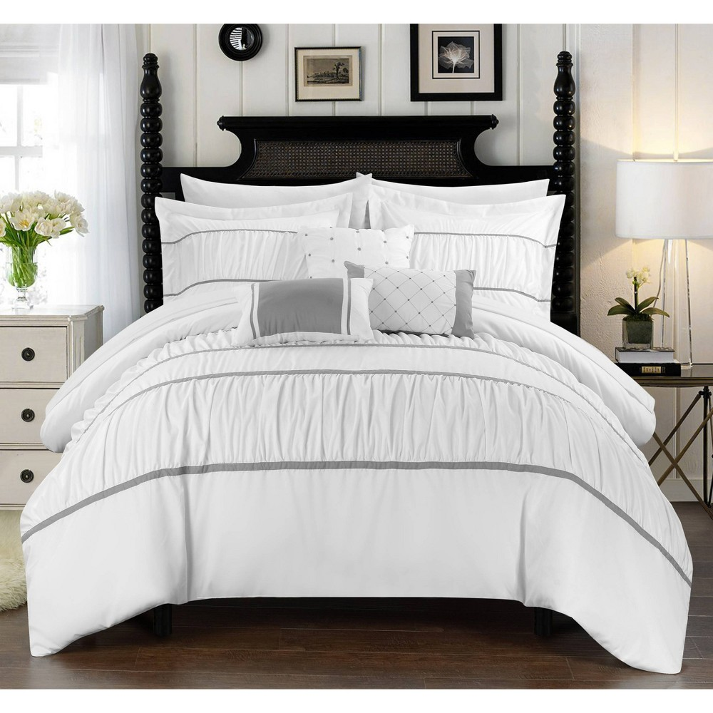 Queen 10pc Wanda Bed In A Bag Comforter Set White Chic Home Design