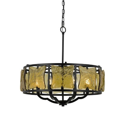 """(23.5"""" x 23.5"""") 6 Light Ravenna Forged Iron Chandelier with Hand Crafted Gold Glass Black - Cal Lighting"""