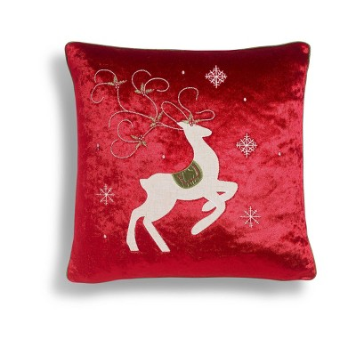 """20""""x20"""" Oversize Prancing Reindeer Square Throw Pillow Red - Sure Fit"""
