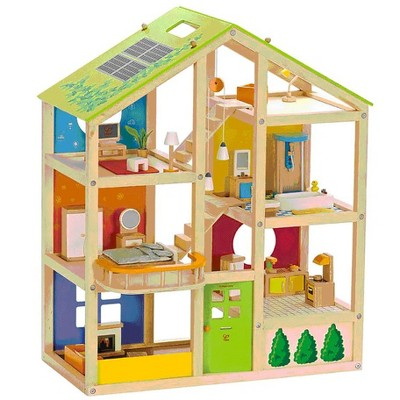 Hape Wooden 6 Room All Season Play Toy Dollhouse with Accessories, Ages 3 and Up