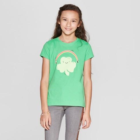 Girls  Shamrock Jump Rope Short Sleeve T-Shirt - Cat   Jack™ Green ... 1a5cf0454
