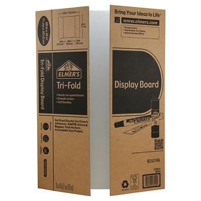 """Elmer's 28"""" x 40"""" Tri-Fold Corrugate Project Display Board"""