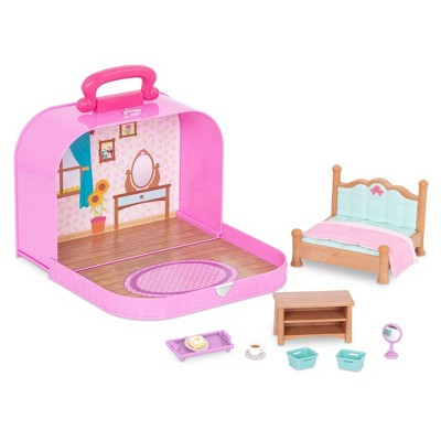 Li'l Woodzeez Toy Furniture Set in Carry Case 13pc - Travel Suitcase Bedroom Playset