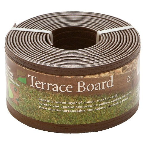 "4"" x 20' Terrace Board Lawn And Garden Edging With 5 stakes - Brown - Master Mark Plastics - image 1 of 1"