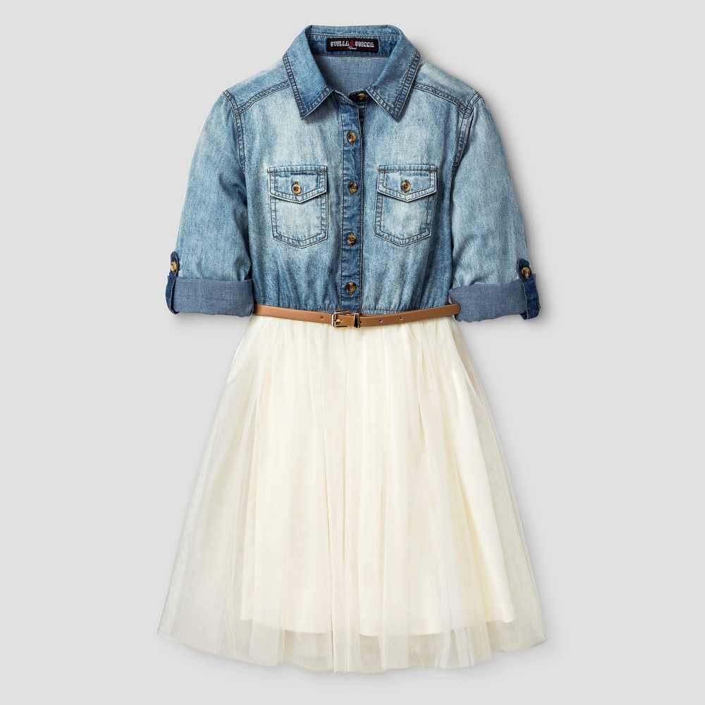 Girls' Stella & Sienna Denim and Tulle Dress 10, Multi-Colored
