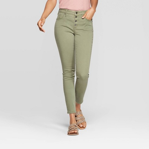 Women's High-Rise Skinny Jeans - Universal Thread™ Olive - image 1 of 6