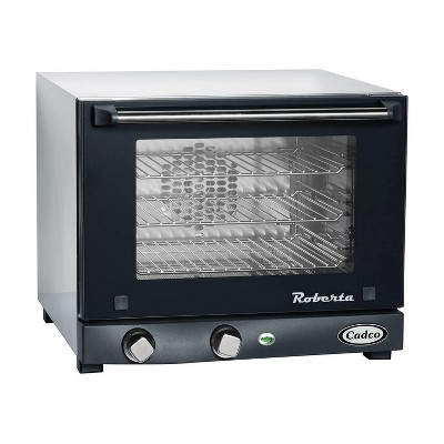 BroilKing POV-003 Compact Quarter Size Stainless Steel Convection Oven with Manual Controls and Aluminum Alloy Sheet Pan, Black