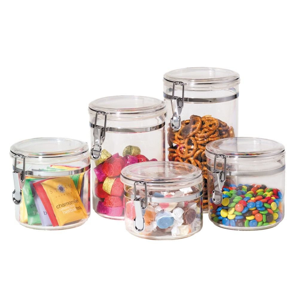 Image of Oggi 5-pc. Acrylic Canister Set, Clear