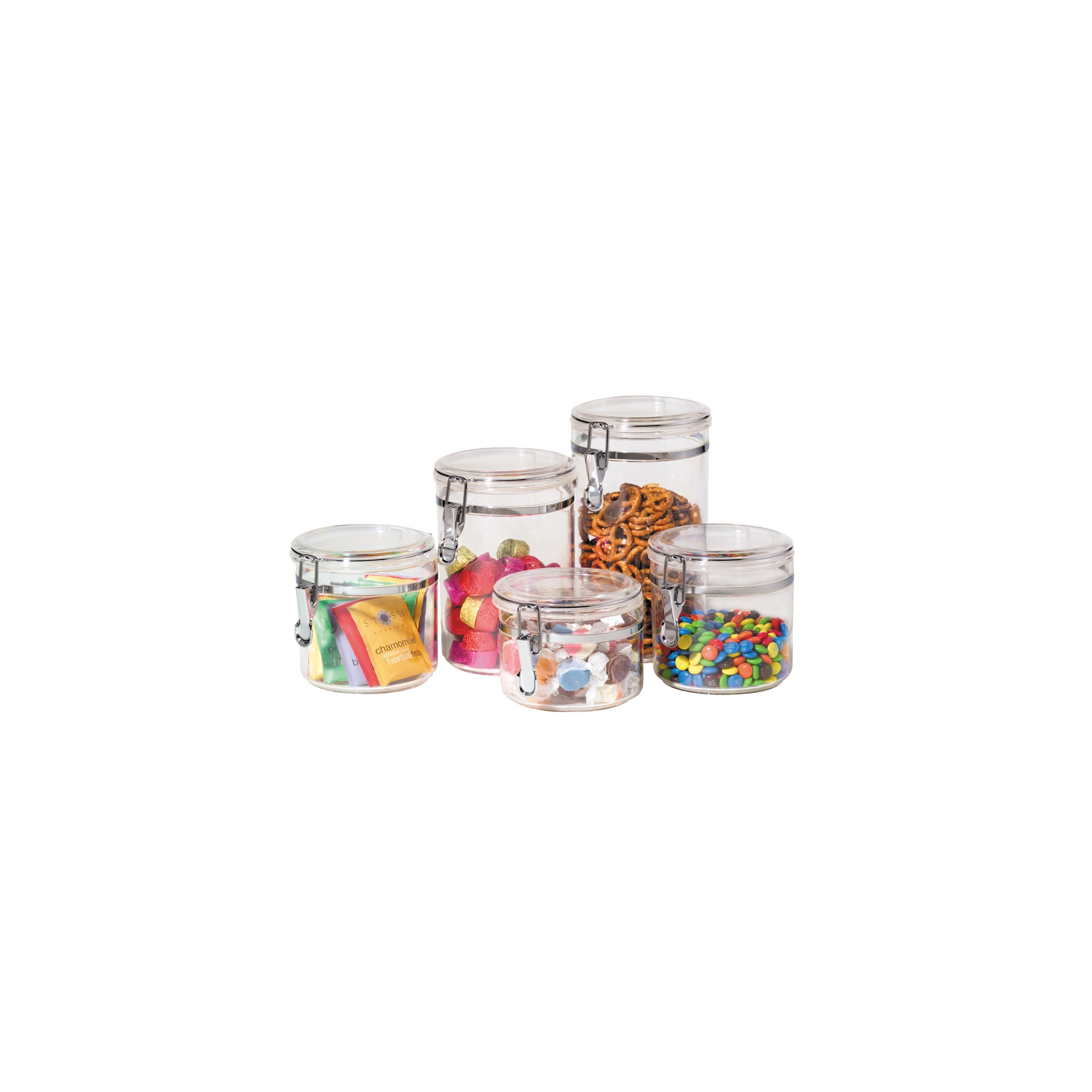 Oggi 5-pc. Acrylic Canister Set, Clear