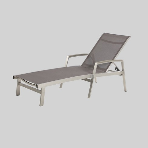 Oxton Aluminum & Outdoor Mesh Patio Chaise Lounge - Gray - Christopher Knight Home - image 1 of 4