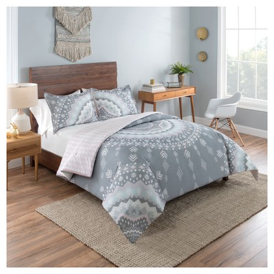 Gray Medallion Reversible Comforter Set (Queen)3pc - Vue&3174;