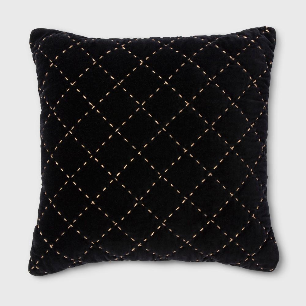 Quilted Velvet Metallic Stitch Square Throw Pillow Black - Threshold