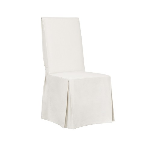 Essential Twill Dining Room Chair Slipcover White - Sure Fit - image 1 of 3