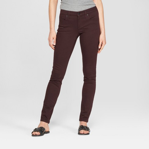 Women's Mid-Rise Skinny Jeans - Universal Thread™ Burgundy - image 1 of 3