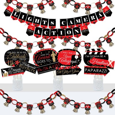 Big Dot of Happiness Red Carpet Hollywood - Banner and Photo Booth Decorations - Movie Night Party Supplies Kit - Doterrific Bundle