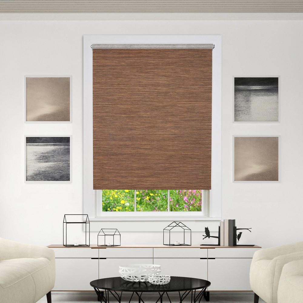 "Image of ""20""""x72"""" Cordless Free Privacy Light Filtering Jute Window Roller Shade Cocoa - Achim, Size: 20""""x72"""", Brown"""