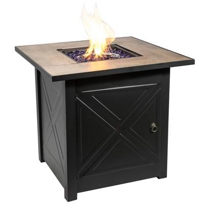 "27"" Square Steel Ceramic Propane Gas Fire Pit - Peaktop"