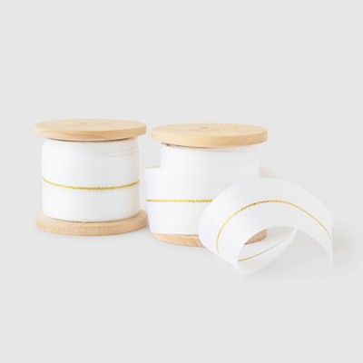 White and Gold Grosgrain Ribbon Set of 2 - Sugar Paper™