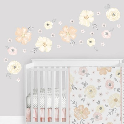 Watercolor Floral Wall Decal Stickers Yellow/Pink - Sweet Jojo Designs