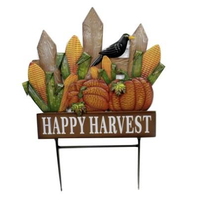 "Home & Garden 35.0"" Fence W/ Pumpkins & Corn Stake Crow Happy Harvest Direct Designs International  -  Decorative Garden Stakes"